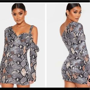 Snake Print  One Shoulder Bodycon Dress